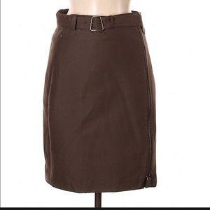 Akris brown tan side zipper pencil skirt 6